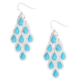 """Silver 2"""" Chandelier Drop Earrings - Turquoise,"""