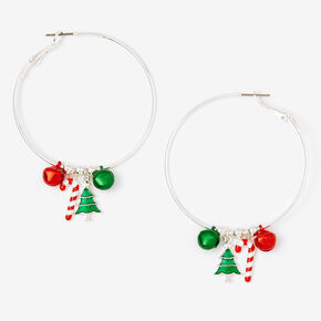 Silver 50MM Holiday Charm Hoop Earrings,