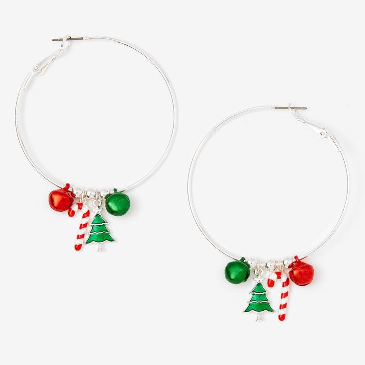 Silver 50MM Holiday Charm Hoop Earrings,