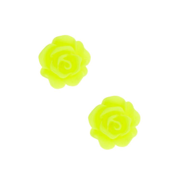 Rose Stud Earrings - Neon Yellow,