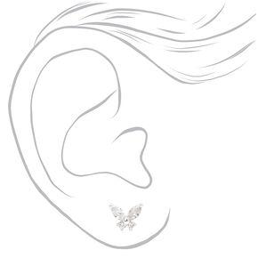 Silver Butterfly Cubic Zirconia Stud Earrings,