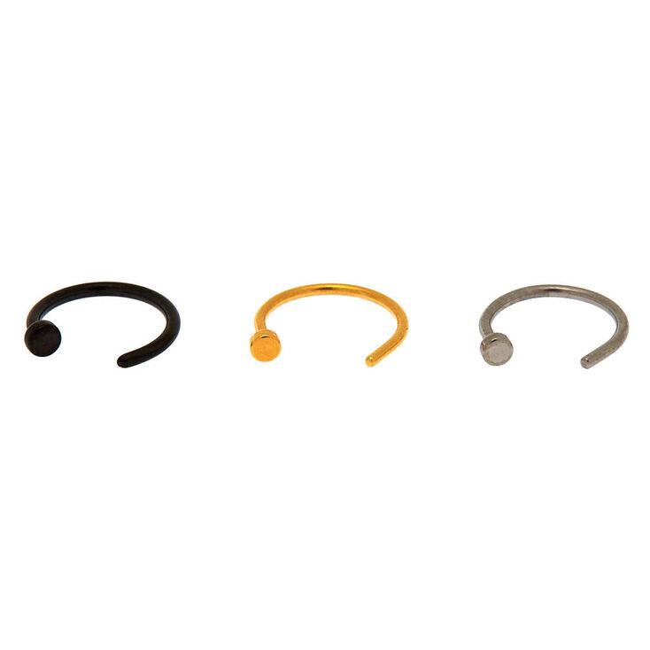 Mixed Metal 20G Horseshoe Hoop Nose Rings - 3 Pack,