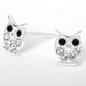 Sterling Silver Crystal Owl Stud Earrings,