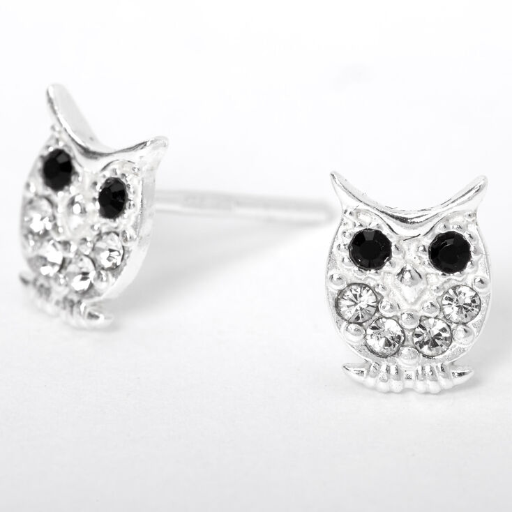 Sterling Silver Crystal Owl Stud Earrings,