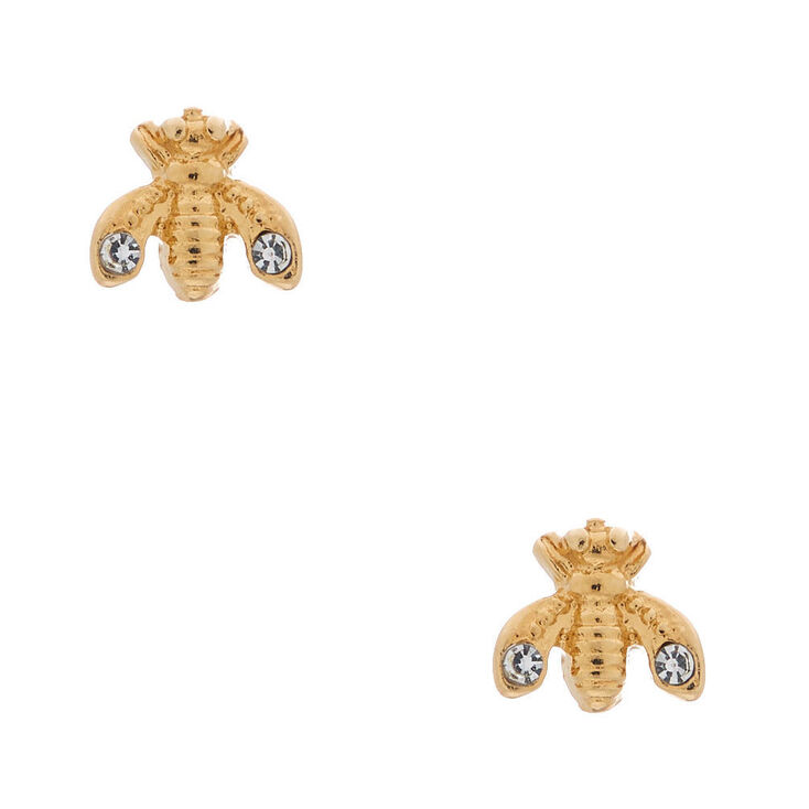 18kt Gold Plated Queen Bee Stud Earrings,