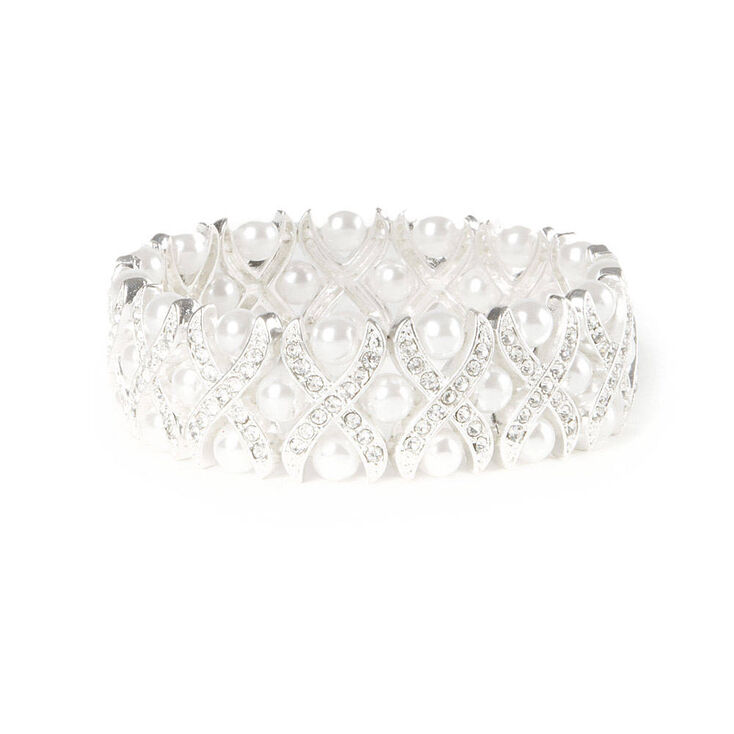 Crystal Criss Cross & Pearls Stretch Bracelet,