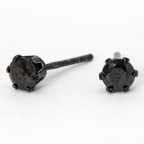 Sterling Silver Cubic Zirconia 4MM Round Stud Earrings - Jet Black,