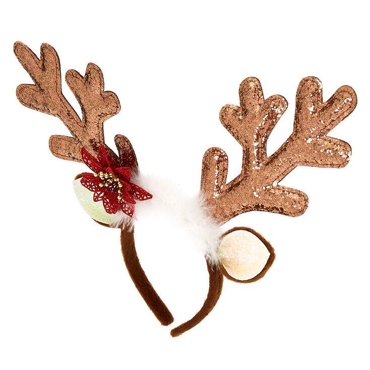 Glitter Reindeer Antlers Headband - Brown,