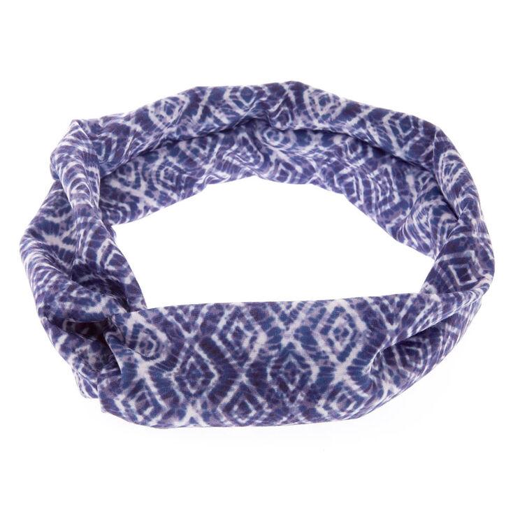 Blue Diamond Tie Die Headwrap,