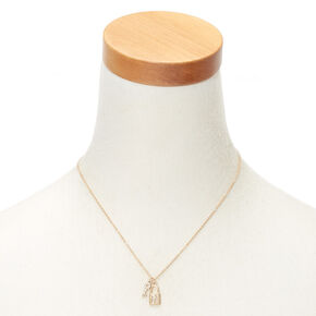 Gold Lock & Key Initial Pendant Necklace - H,