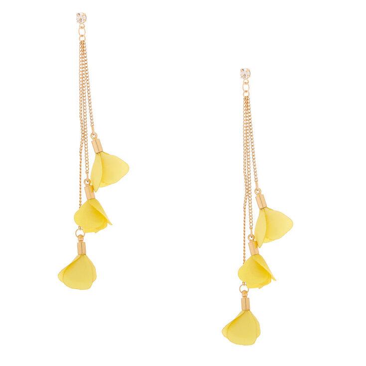 """Gold 4"""" Flower Petal Drop Earrings - Yellow,"""