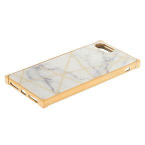 White Marble Geometric Square Phone Case - Fits iPhone 6/7/8 Plus,
