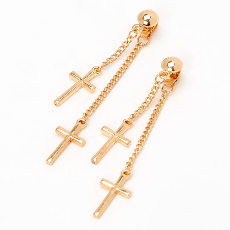 """Gold 2"""" Double Cross Front and Back Drop Earrings,"""