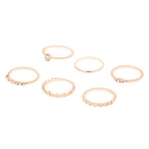 Rose Gold Royal Glam Rings - 6 Pack,