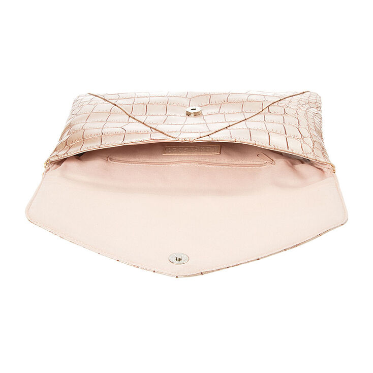 Fantasia Pink Crocodile Envelope Clutch,