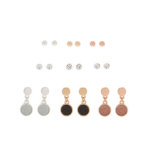 Mixed Metal Round Glitter Mixed Earrings - 9 Pack,