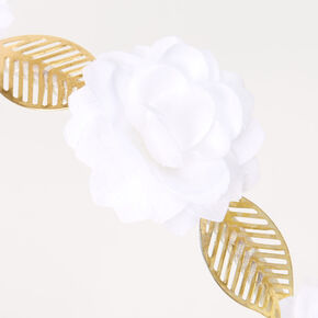 Gold Flower Leaf Headband - Ivory,