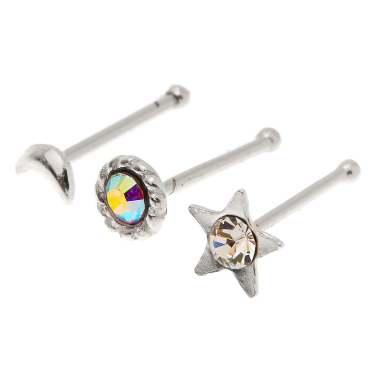 Sterling Silver 22G Crystal Celestial Nose Studs - 3 Pack,