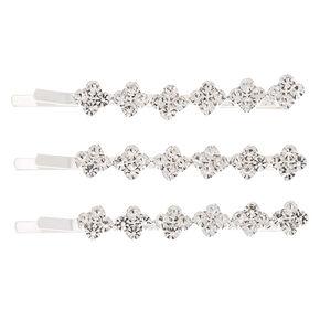 Silver Rhinestone Diamond Bobby Pins - 3 Pack,