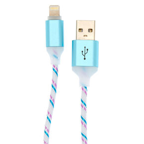 Pink and Blue Lightning USB Cord - White,