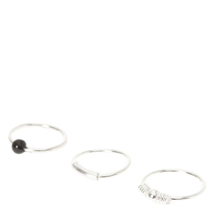 Sterling Silver Tragus Earrings - 3 Pack,