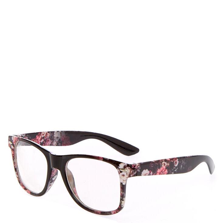 Floral Retro Clear Lens Frames - Black,