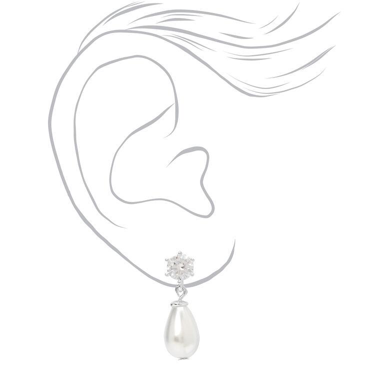"""Silver 0.5"""" Crystal Pearl Teardrop Drop Earrings,"""
