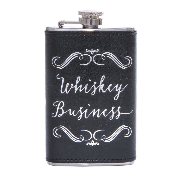 Faux Leather Whiskey Business Drink Flask,