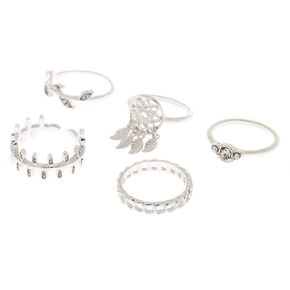 Silver Dreamcatcher Rings - 5 Pack,