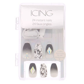 Ombre Marble Bling Faux Nail Set - Gray, 24 Pack,