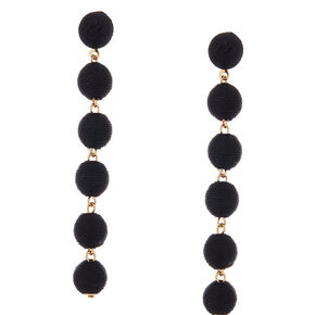 "3"" Thread Wrapped Ball Drop Earrings - Black,"