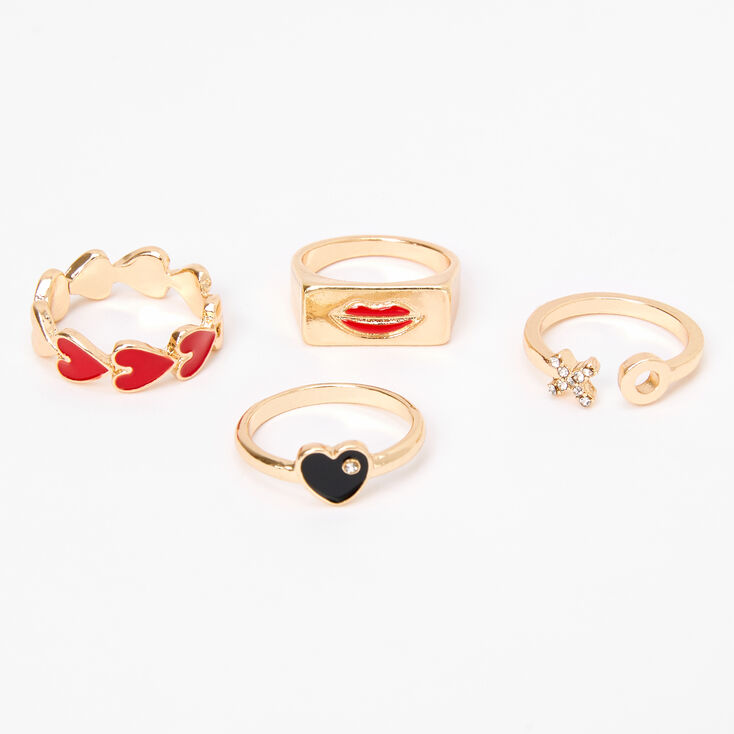 Gold Heart & Lips Mixed Rings - 4 Pack,