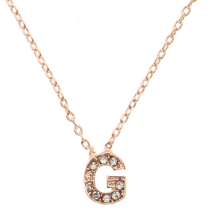 "Rose Gold Studded ""G"" Initial Necklace,"