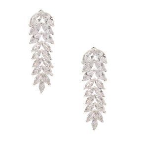 "Silver Cubic Zirconia 1.5"" Leaf Drop Earrings,"