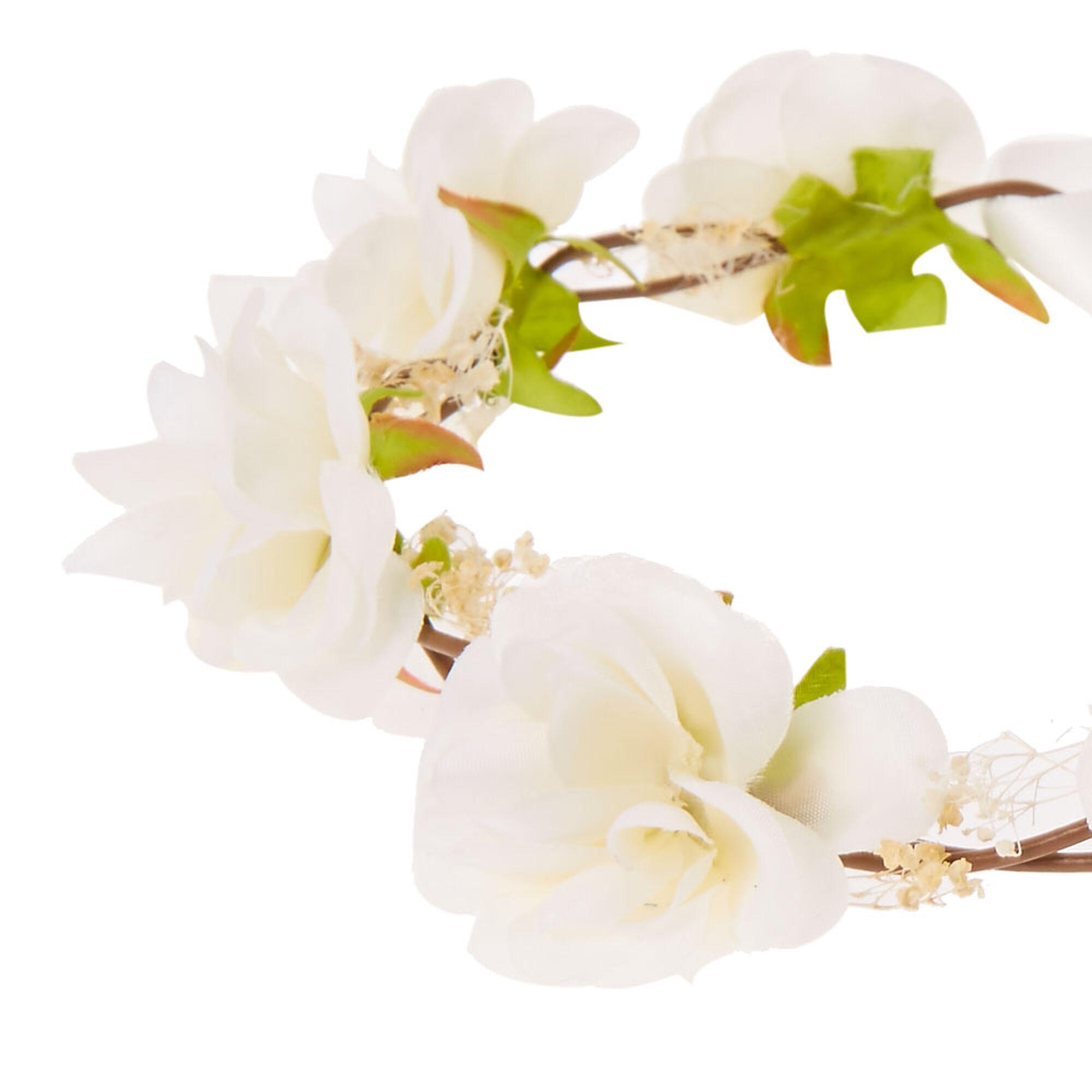 White Rosette Hair Garland Flower Crown Icing Us
