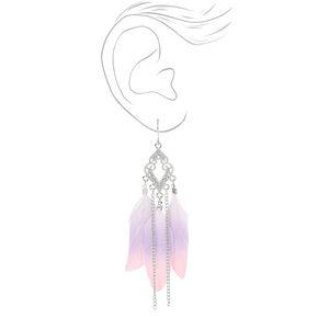 """Silver 4"""" Pastel Feather Filigree Drop Earrings,"""