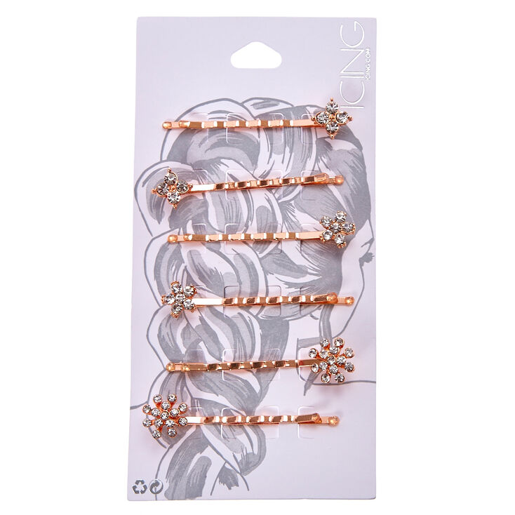 Rose Gold Mixed Crystal Flower Hair Pins - 6 Pack,