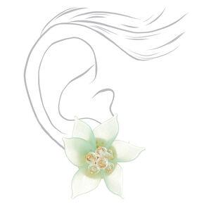 Gold Flower Petal Bead Stud Earrings - Green,