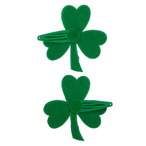 Glitter Shamrock Snap Hair Clips - Green, 2 Pack,