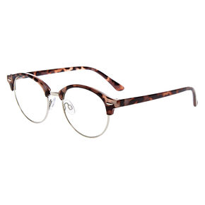 Tortoiseshell Browline Clear Lens Frames - Gray,
