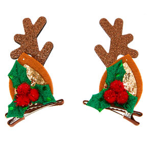 Reindeer Ear Hair Clips - Brown, 2 Pack,
