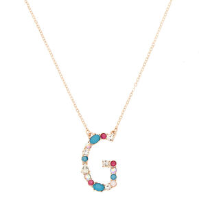 Embellished Long Initial Pendant Necklace - G,
