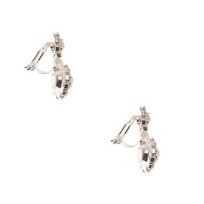Halo Crystal Clip On Drop Earrings,