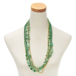 Luck of the Irish Beaded Necklaces - Green, 5 Pack,