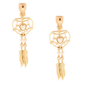 "Gold 1.5"" Dreamcatcher Clip On Drop Earrings,"