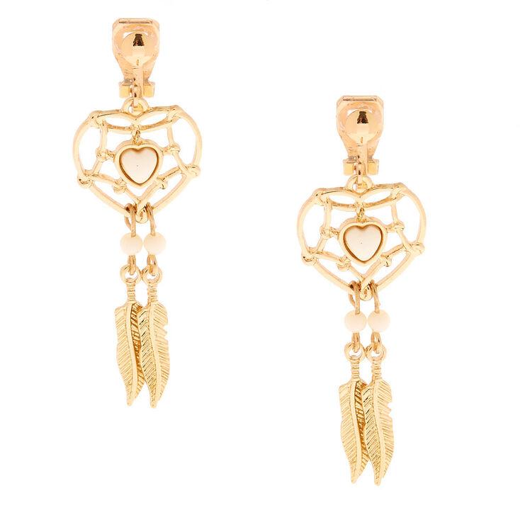 """Gold 1.5"""" Dreamcatcher Clip On Drop Earrings,"""