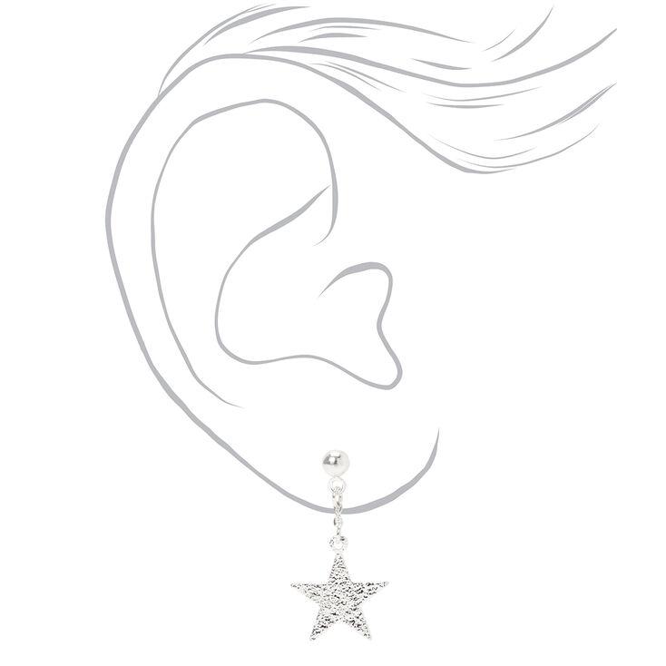 """Silver 1"""" Sandblast Star Drop Earrings,"""