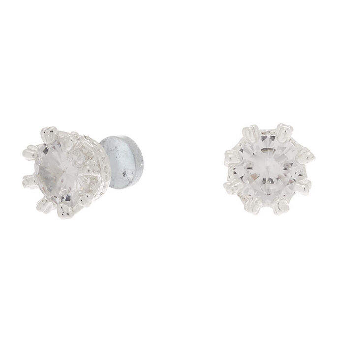 Silver Cubic Zirconia 5MM Round Magnetic Stud Earrings,