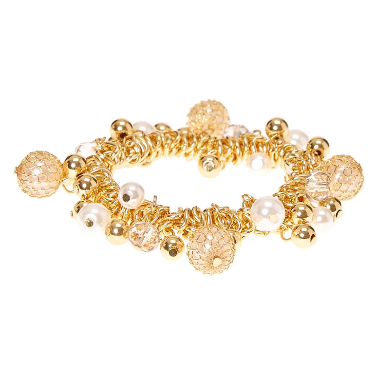 Gold-Tone Pearl & Bead Stretch Bracelet,