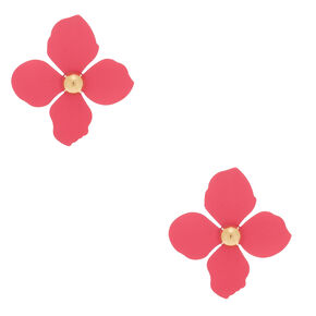 "2"" Flower Stud Earrings - Pink,"